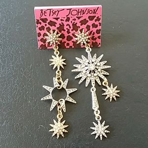 BETSEY JOHNSON funky 2-tone sun moon and stars